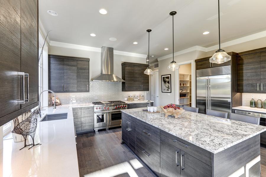 a modern gray kitchen