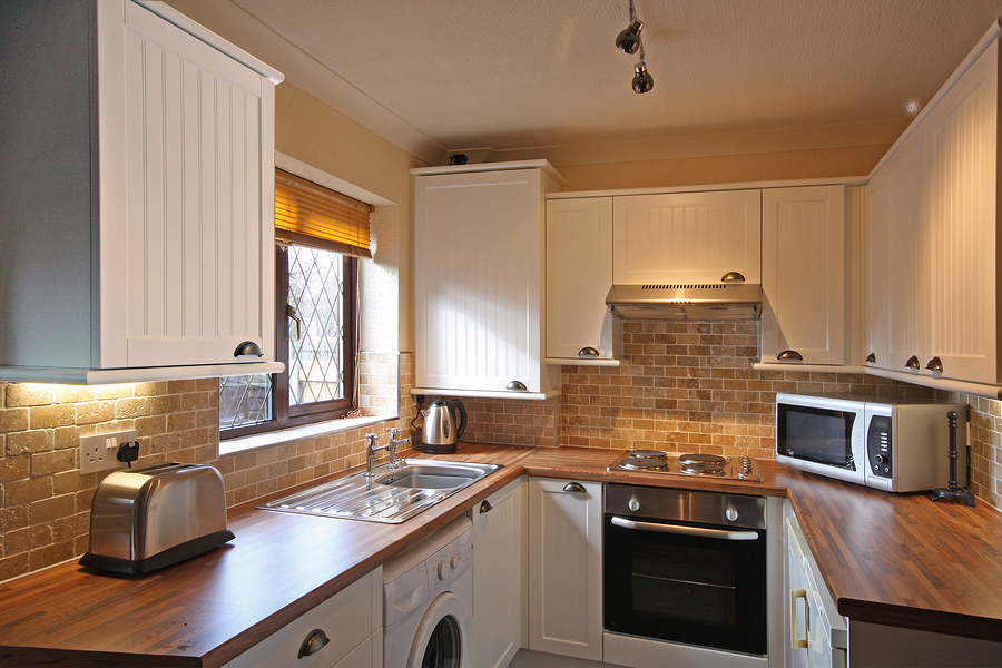 View of White kitchen in small UK Home